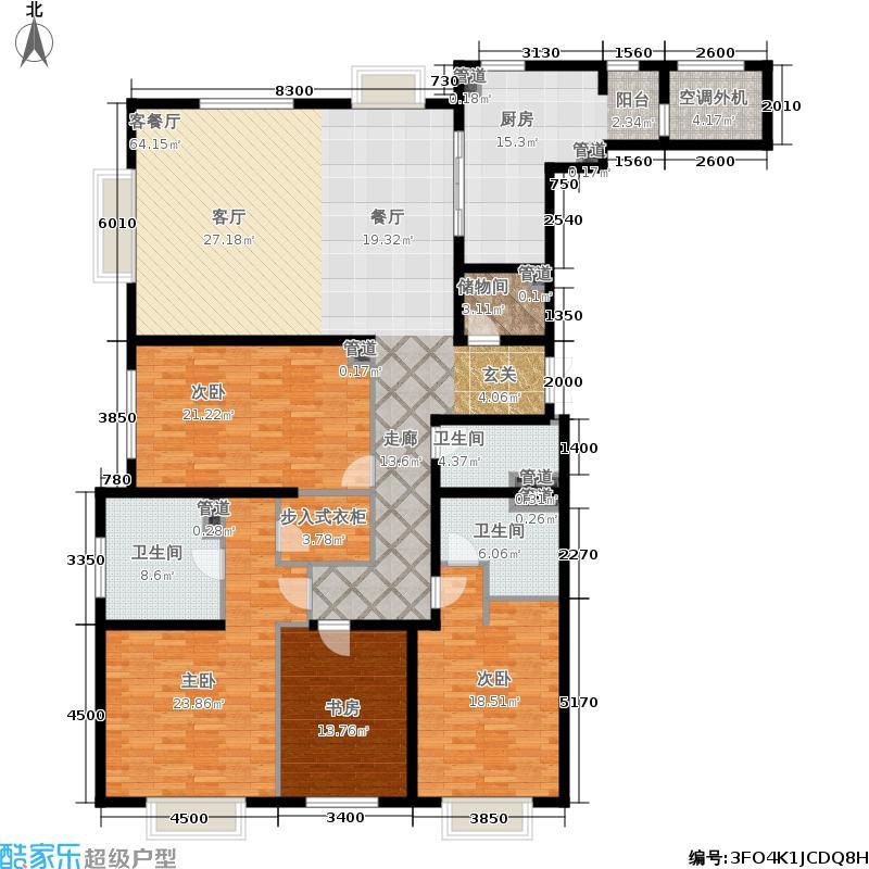 天津大都会268.00㎡高层标准层户型4室2厅
