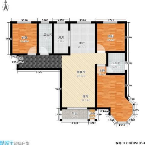 御江景城3室1厅2卫1厨136.00㎡户型图