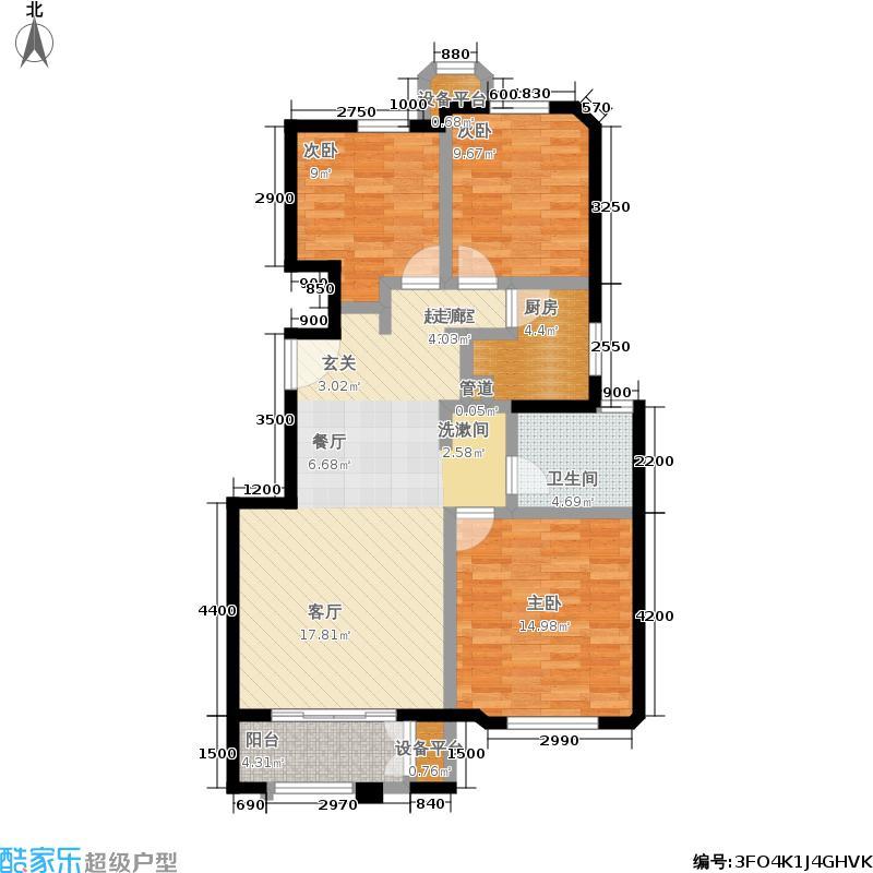 金地艺境115.00㎡一期褐石洋房B-1户型3室2厅