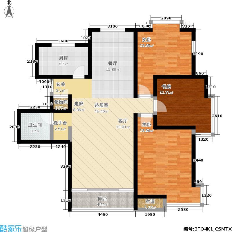 武清五一阳光121.68㎡二期高层标准层C2户型3室2厅