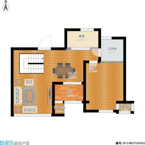 印象欧洲2室1厅1卫1厨88.00㎡户型图