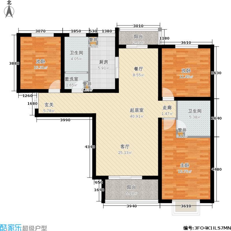 中山凯旋门119.08㎡户型3室2厅