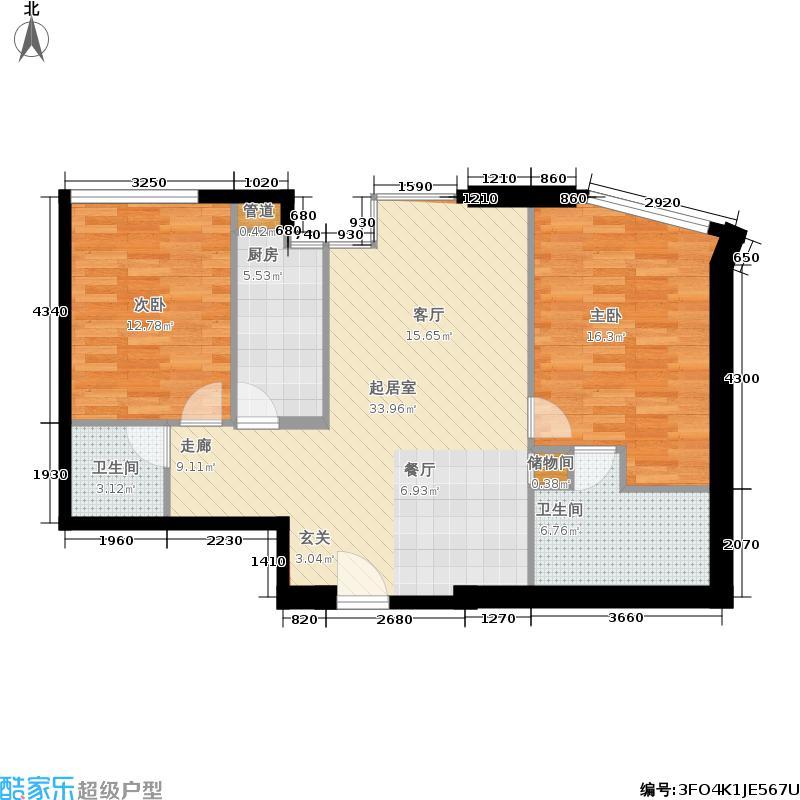 天津雅颂居125.00㎡高层标准层J户型2室2厅