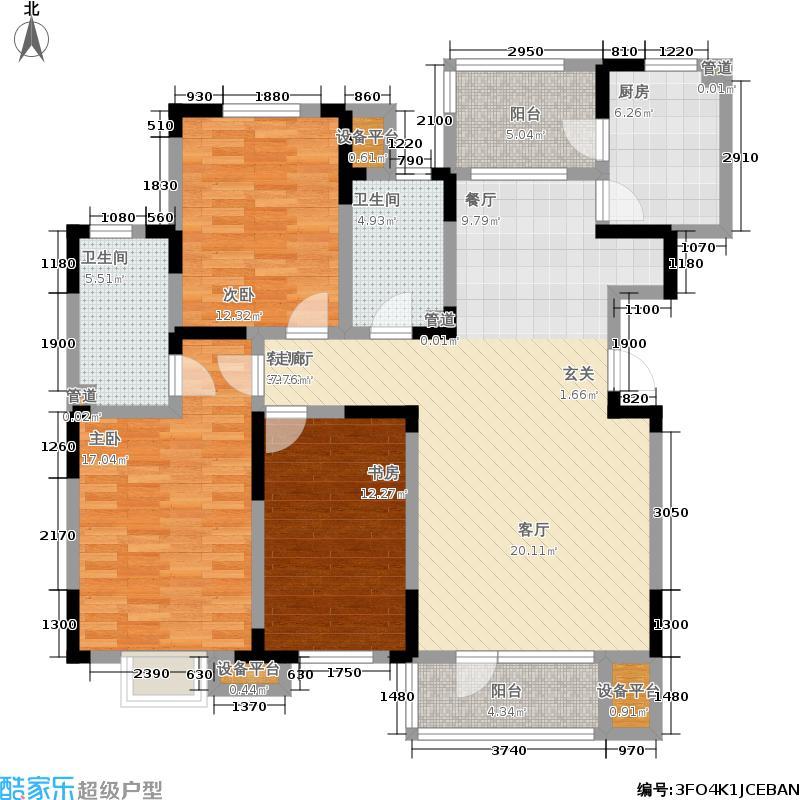 欧铂城148.34㎡洋房标准层D户型3室2厅