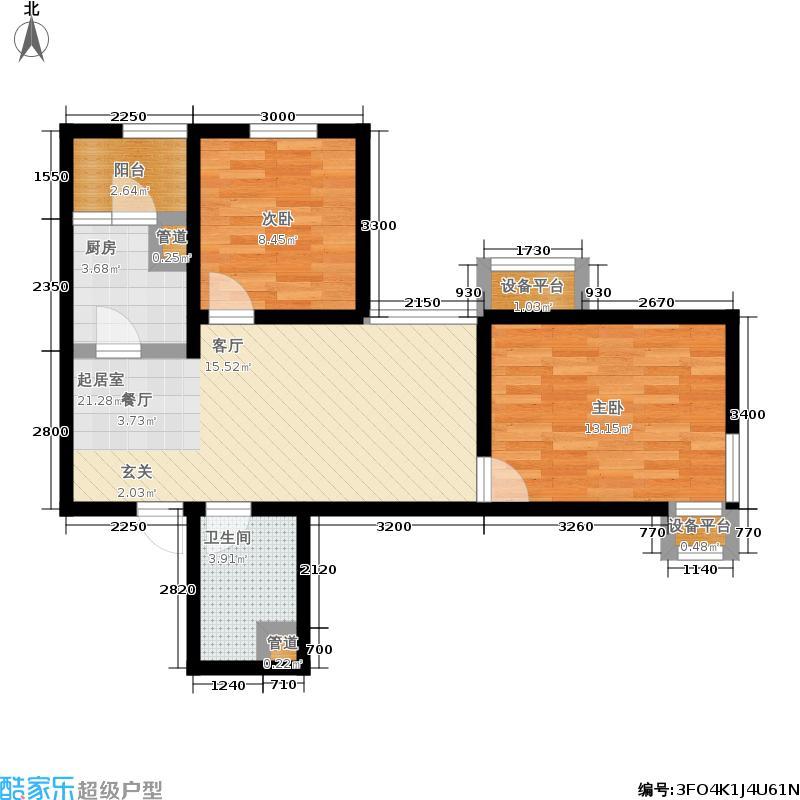 观锦78.46㎡高层3号楼标准层2-C户型2室2厅