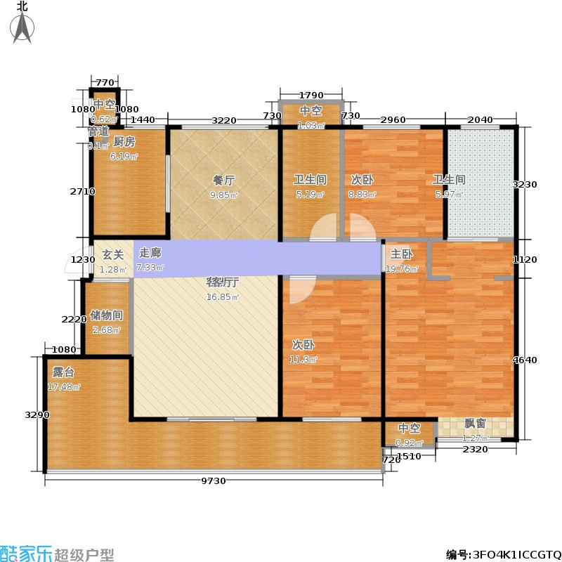 中海阳光玫瑰园125.00㎡E户型3室2厅