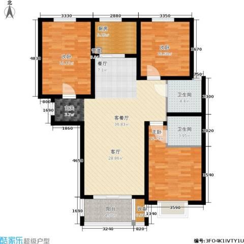 御江景城3室1厅2卫1厨107.00㎡户型图