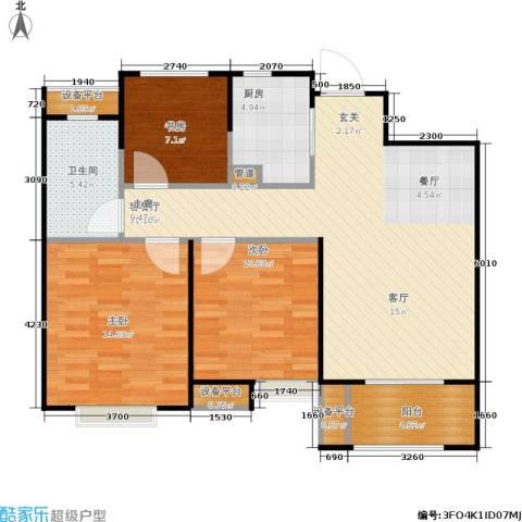景瑞上府3室1厅1卫1厨89.00㎡户型图