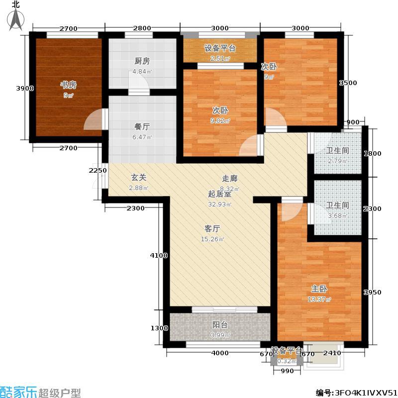 瀚唐125.00㎡二期12号楼C户型4室2厅