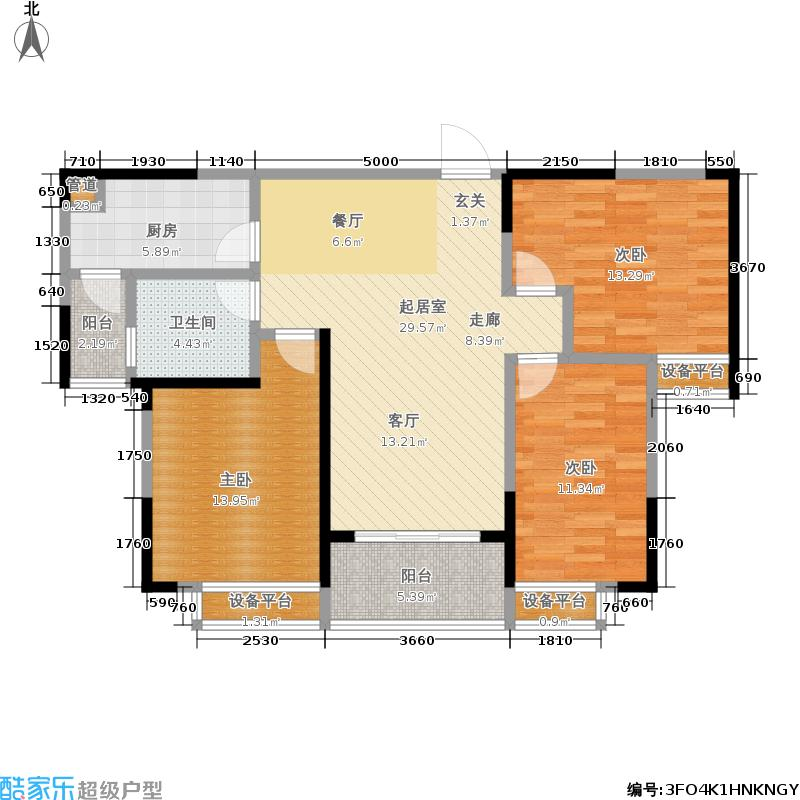 恒大江湾102.00㎡三室B1栋1单元户型3室2厅