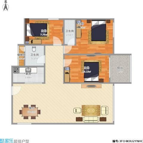康城国际 中海康城花园3室1厅2卫1厨111.00㎡户型图
