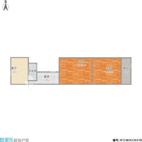 大桥花苑2室1厅1卫1厨75.00㎡户型图