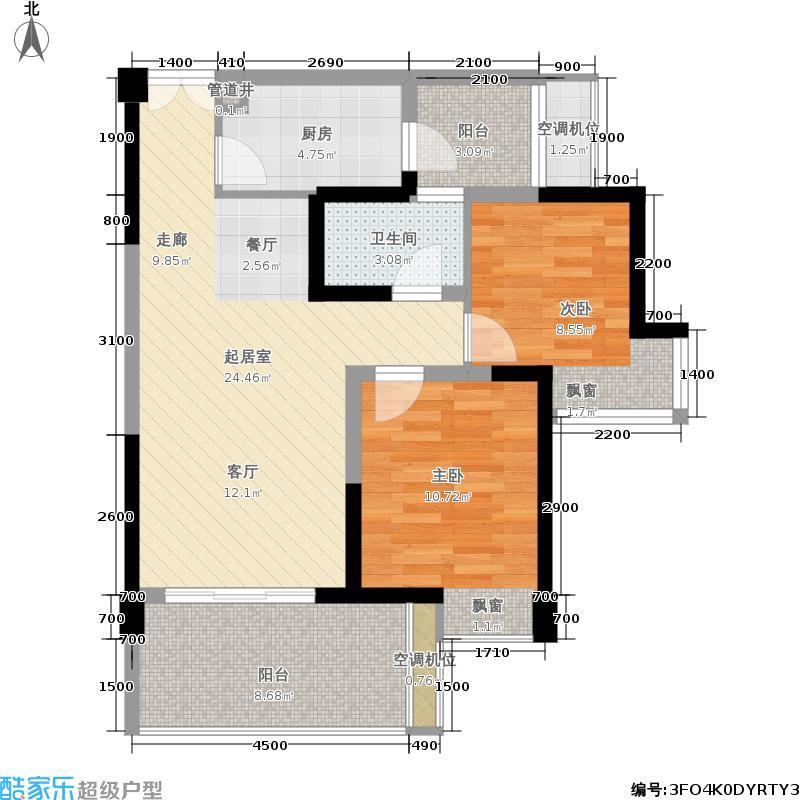 """宏达世纪锦城78.00㎡5号楼标准层D4""""户型"""