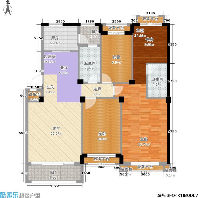 天津碧桂园142.00㎡泊林组团花园洋房Q6户型3室2厅