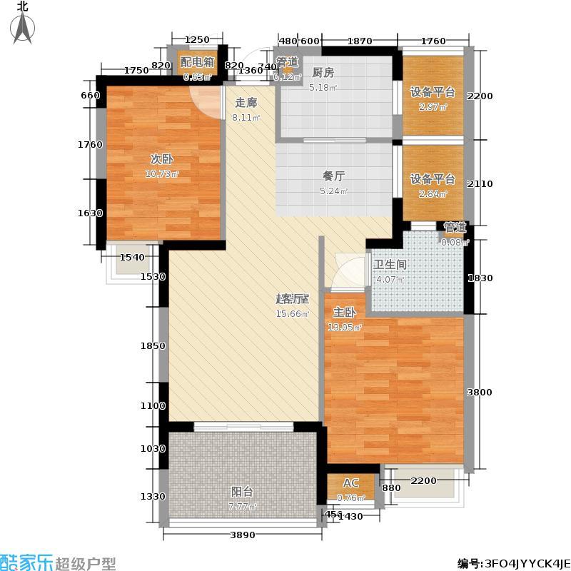 金东城世家88.80㎡六期8、10号楼标准层A0户型