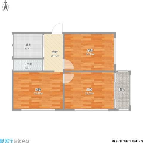 交通一村2室1厅1卫1厨64.00㎡户型图