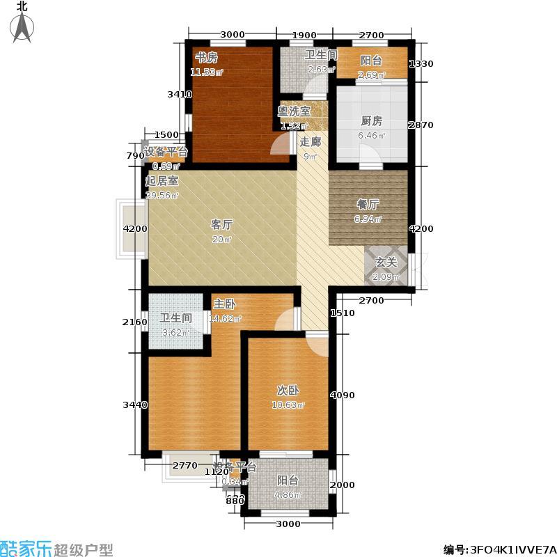 瀚唐135.00㎡二期6、7、8、13号楼G2户型3室2厅