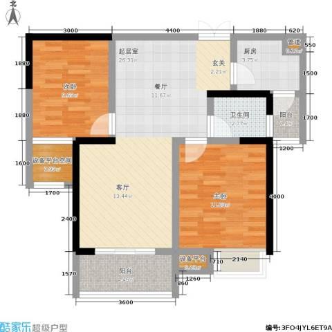 硚房翰林珑城2室0厅1卫1厨86.00㎡户型图