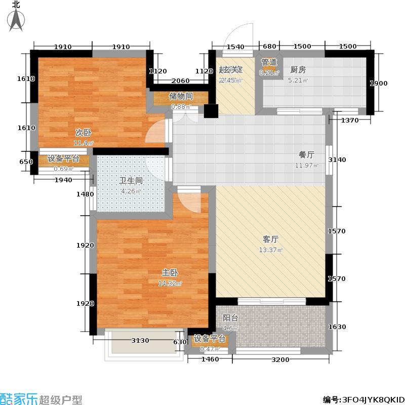 天汇龙城83.00㎡1、3、4、6、7、9、10、12号楼A户型