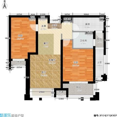 润开华府2室1厅1卫1厨84.00㎡户型图