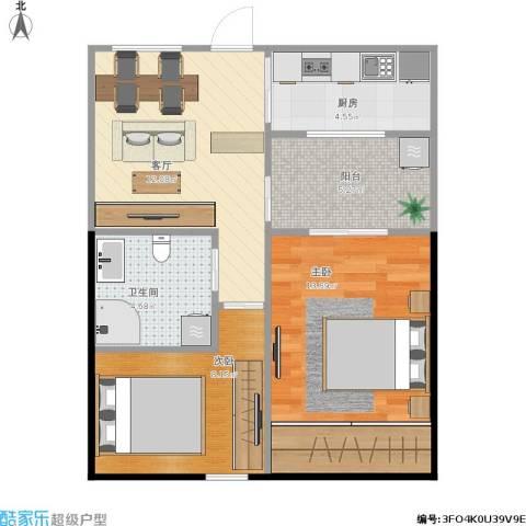 泾东一村2室1厅1卫1厨66.00㎡户型图