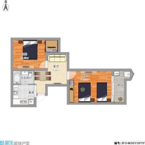 华灵路881弄小区2室1厅1卫1厨72.00㎡户型图