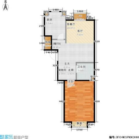 首创·悦树汇1室1厅1卫1厨55.00㎡户型图