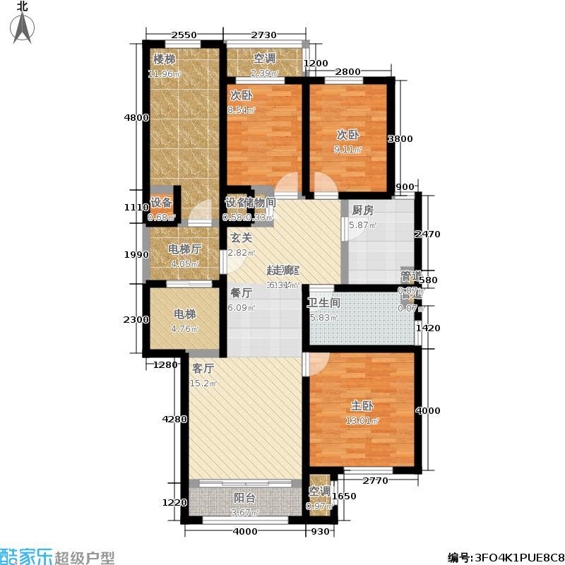 华润·润西山108.00㎡C2户型3室2厅