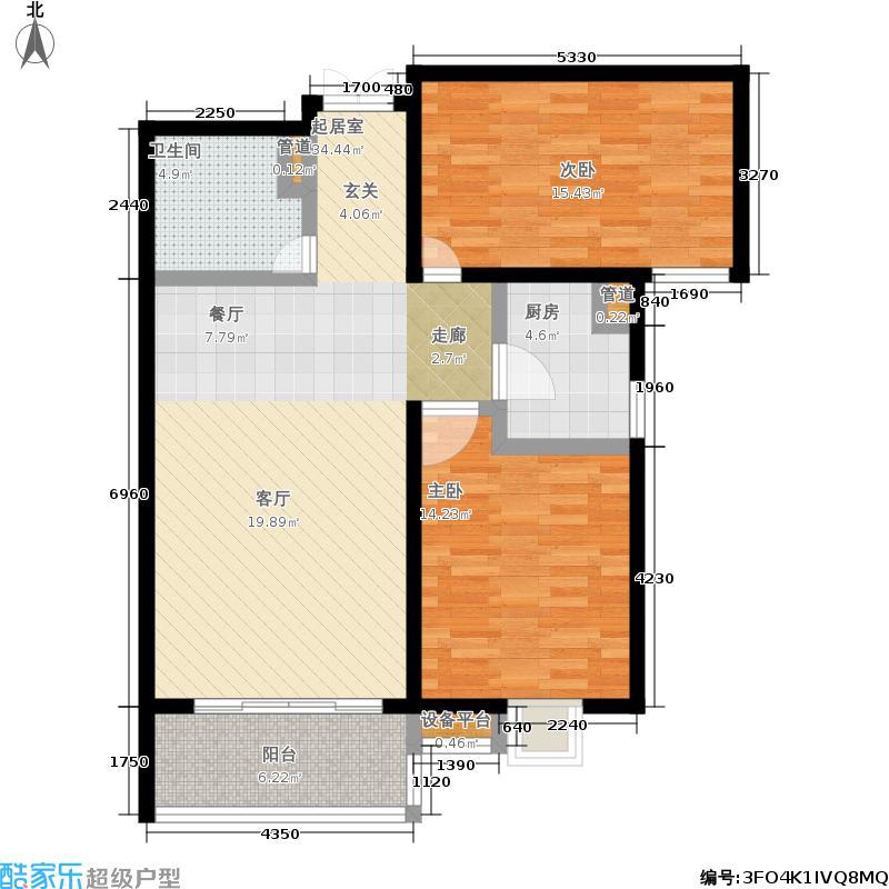 瑞城93.54㎡三期E5号楼B户型2室1厅