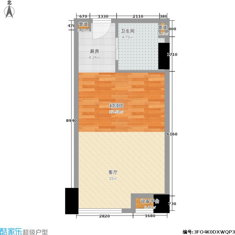 英祥财富领域51.00㎡一期3号楼标准层B'户型
