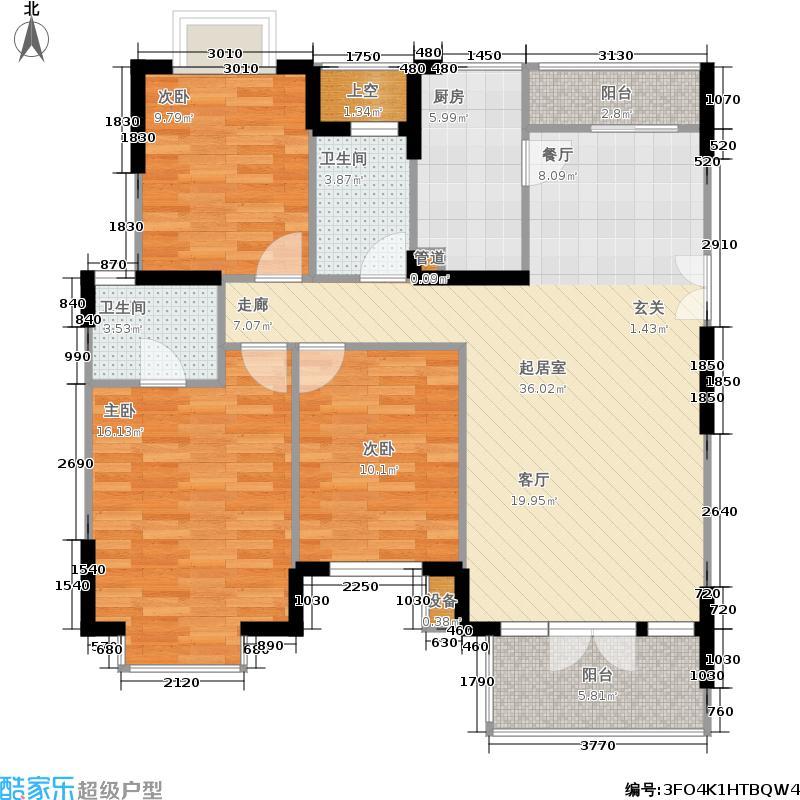 中国铁建山语城120.74㎡D户型3室2厅