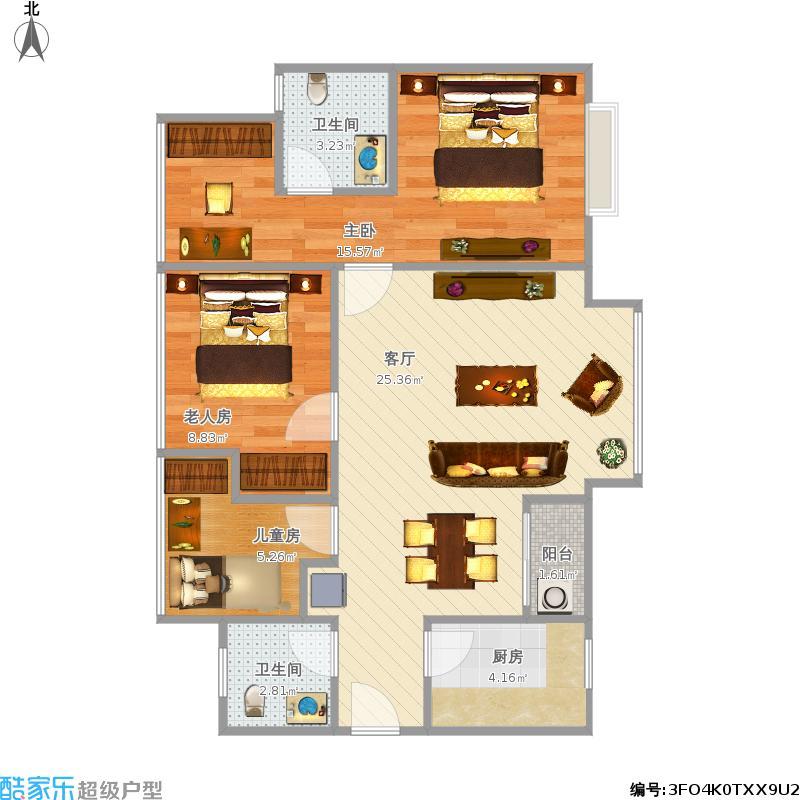 交大归谷建设派84方A2三室两厅