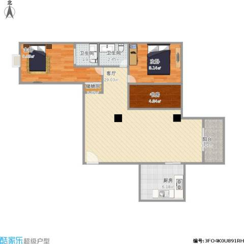 源昌豪庭3室1厅2卫1厨91.00㎡户型图