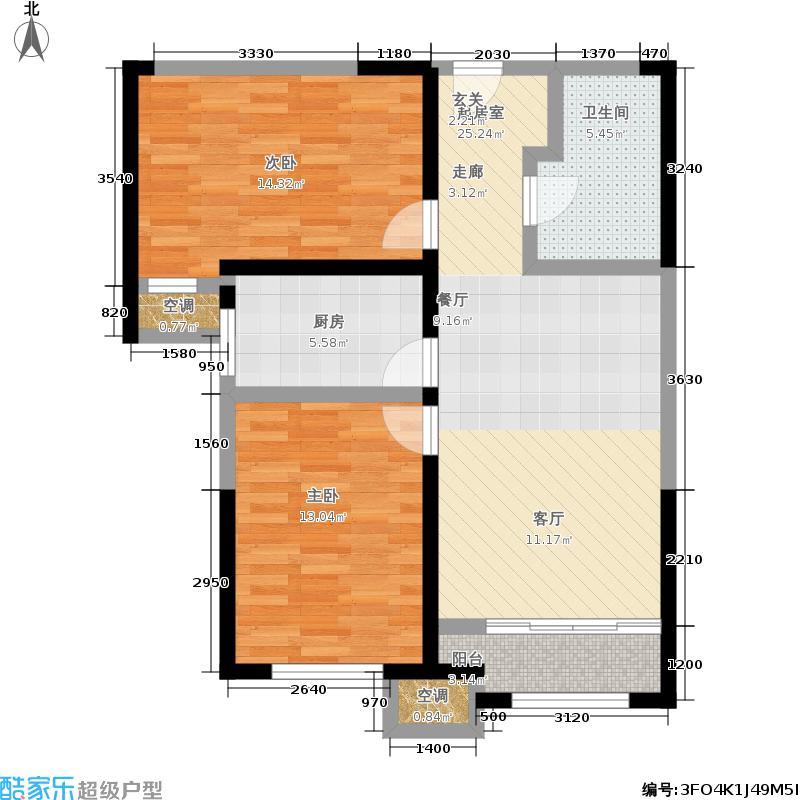 金侨公园壹号80.00㎡高层标准层F户型2室2厅