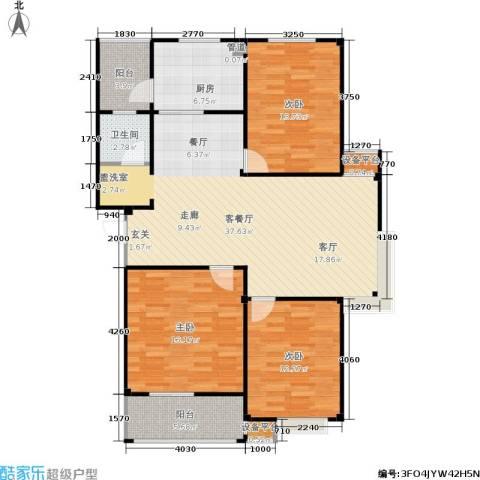 甫澄熙岸3室1厅1卫1厨108.00㎡户型图