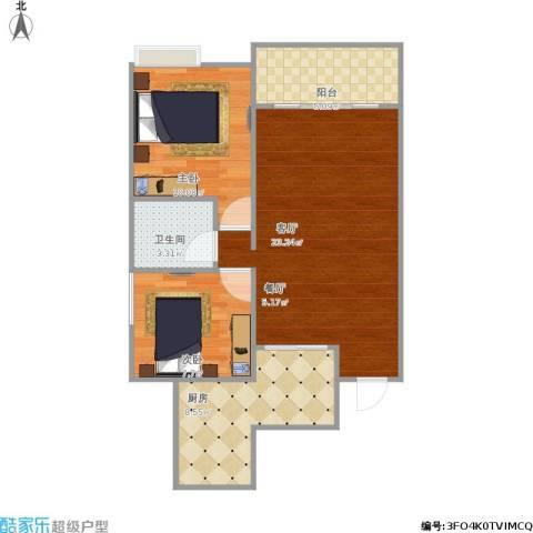 奥兰半岛2室1厅1卫1厨79.00㎡户型图