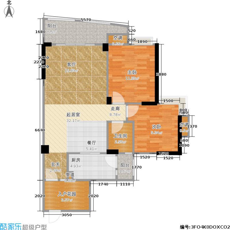 天晨花溪碧89.00㎡一期2号楼2单元3、4号房E22室户型