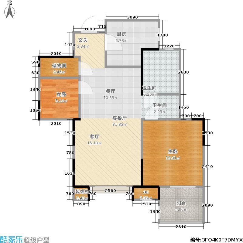 金地自在城77.25㎡32、33、34号楼D1a型标准层平面图户型