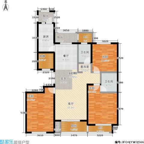 乌桥水岸花园3室0厅2卫1厨137.00㎡户型图