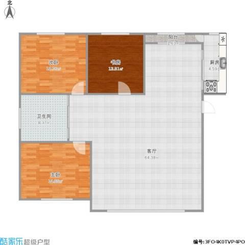 广厦新城・锦府3室1厅1卫1厨160.00㎡户型图