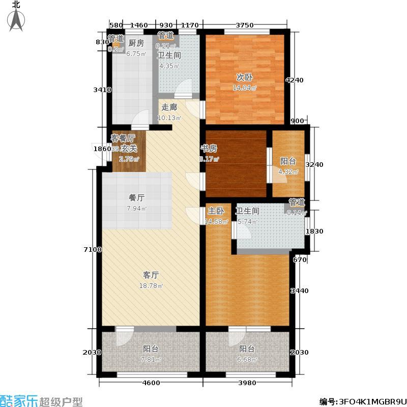 保利茉莉公馆126.00㎡10#楼E2户型3室2厅