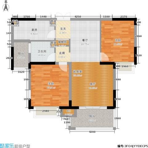 康利华府2室0厅1卫1厨96.00㎡户型图