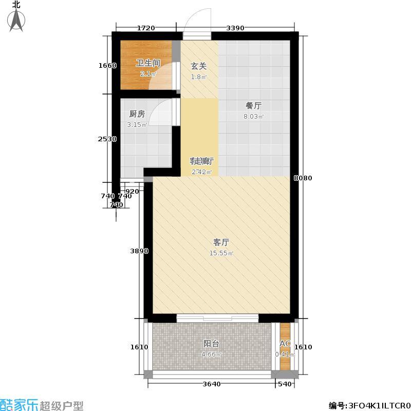 海龙湾57.30㎡J户型1室1厅