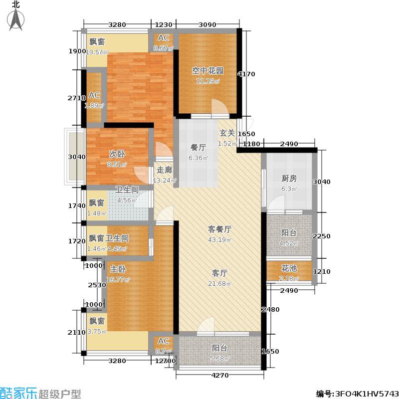 北辰三角洲148.93㎡F户型3室2厅