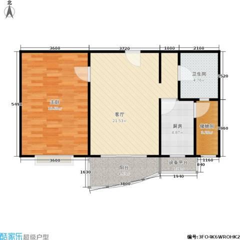 和润家园二期1室1厅1卫1厨80.00㎡户型图