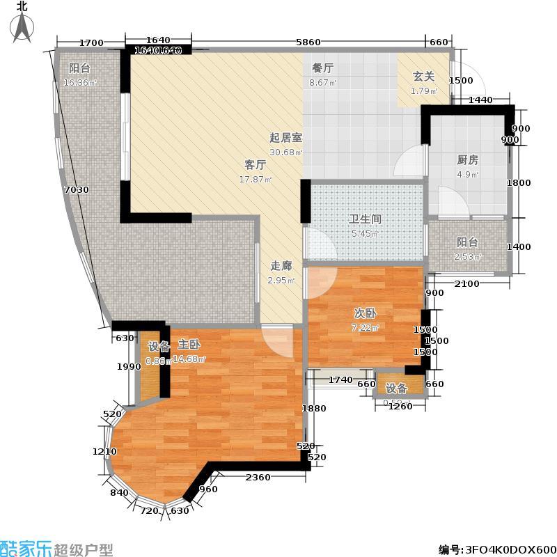 天晨花溪碧94.42㎡二期7号楼标准层G'2户型