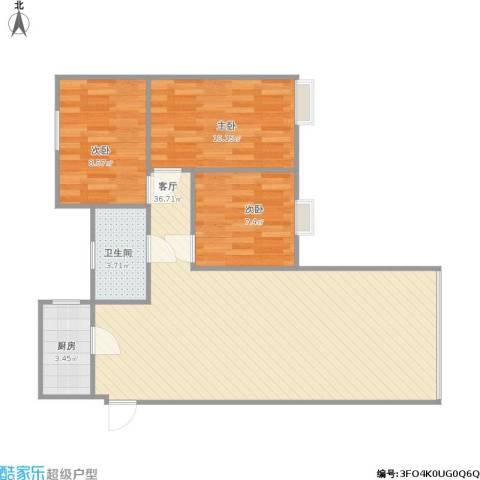 下麦老湾塘(绿洲湾)3室1厅1卫1厨94.00㎡户型图