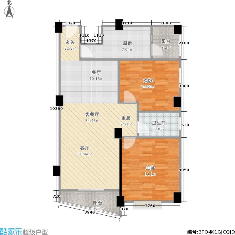 恒大苹果园98.00㎡东方诗韵12#楼(售完)户型