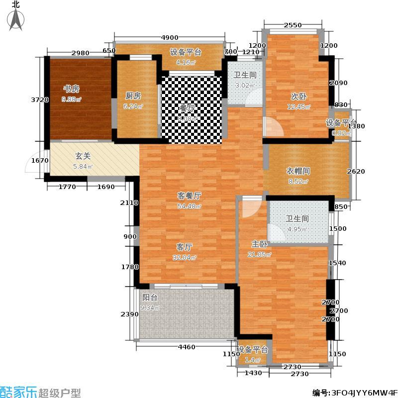 石林大公园142.00㎡一期1、3、4、5、7-9幢标准层E1户型