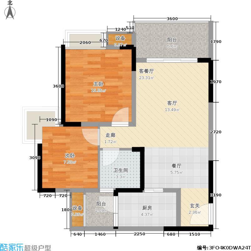 熙水岸79.00㎡1期6号楼标准层E2户型